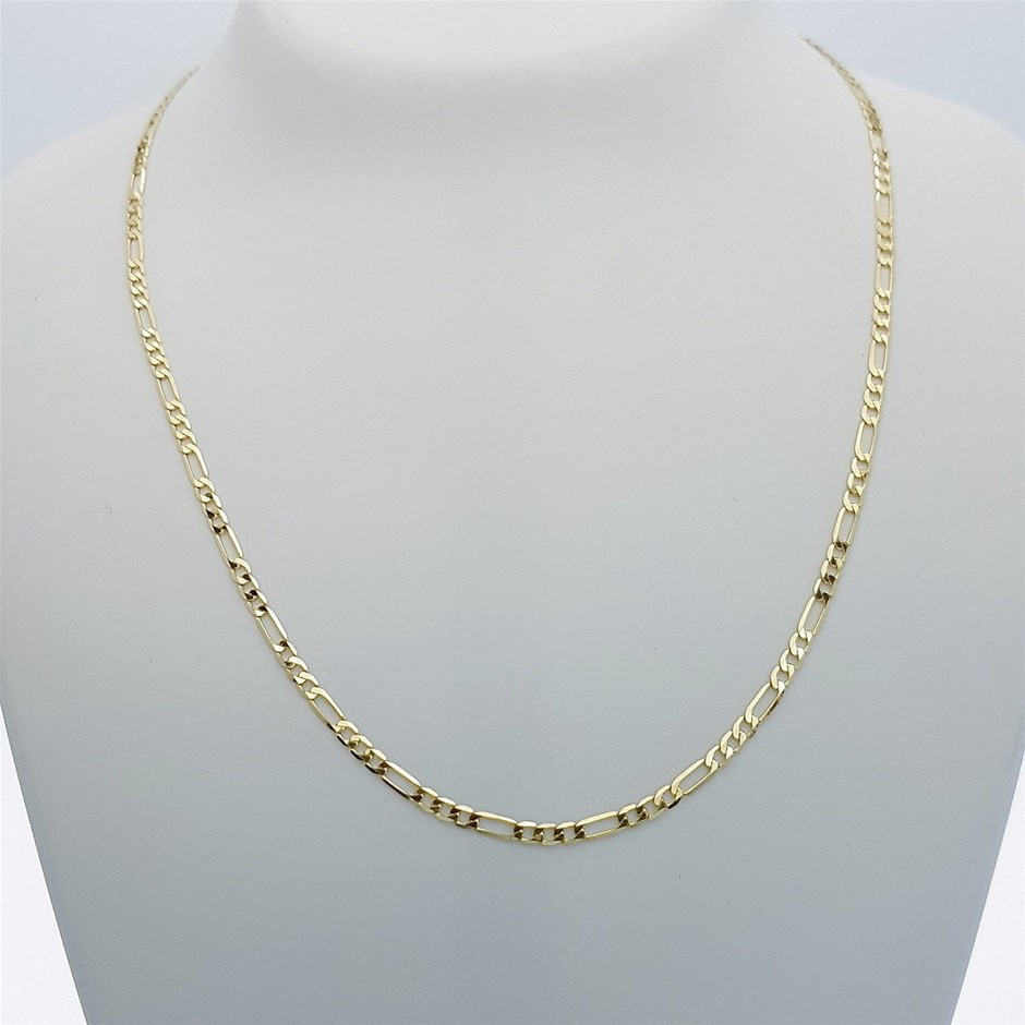 Genuine Italian 9 Karat yellow Gold 45 cm Figaro chain necklace