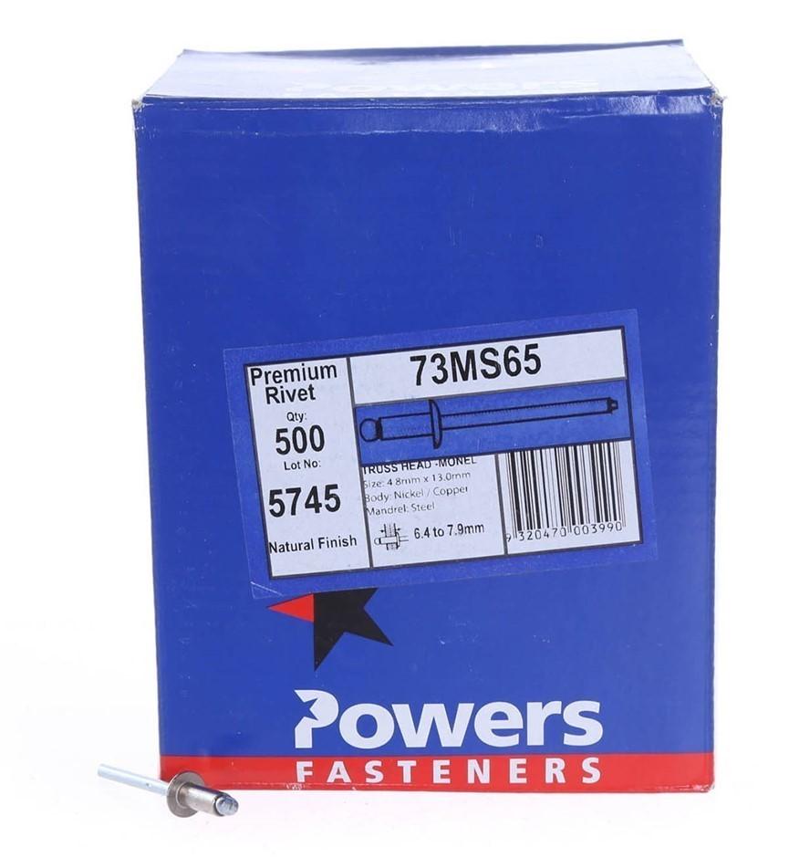 Pack of 500 x POWERS Truss Head Nickel/Copper Rivets 4.8mm x 13.0mm, Natura