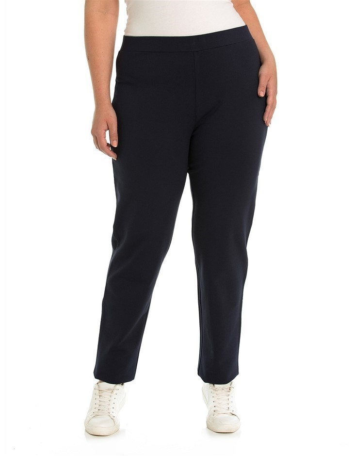 YARRA TRAIL PLUS Straight Leg Ponte Pant. Size XL, Colour: Navy. Viscose/Ny