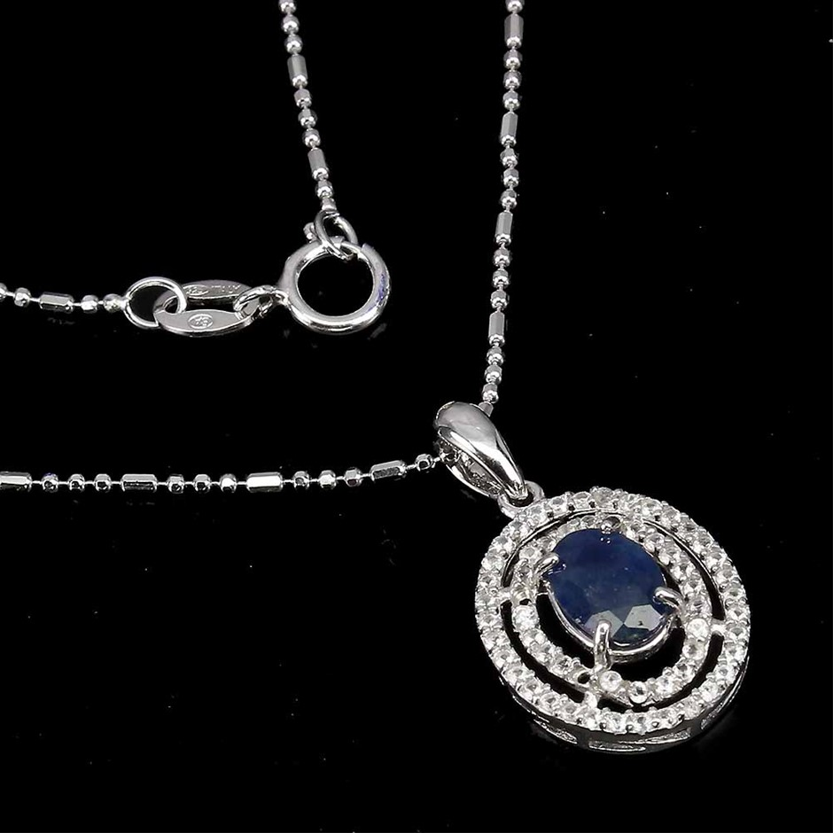 Striking Genuine Sapphire Pendant & Chain.