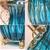 SOGA 51cm Blue Glass Floor Vase & 12pcs Artificial Fake Flower Set