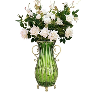SOGA 51cm Green Glass Floor Vase & 12pcs