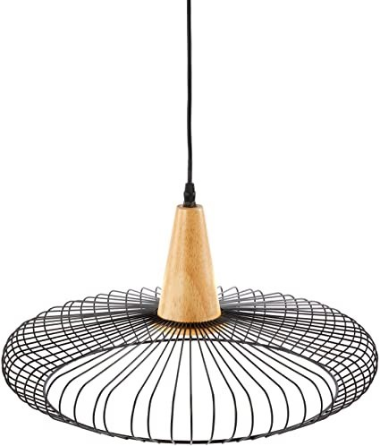 BOHO TRADERS Iron and Wood Round Geo Pendant Light, Color Black. Made from