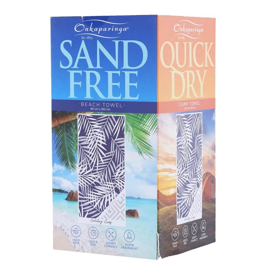 ONKAPARINGA Beach Towel, 80cm x 160cm, Blue/White Leaf. N.B. Not in origina