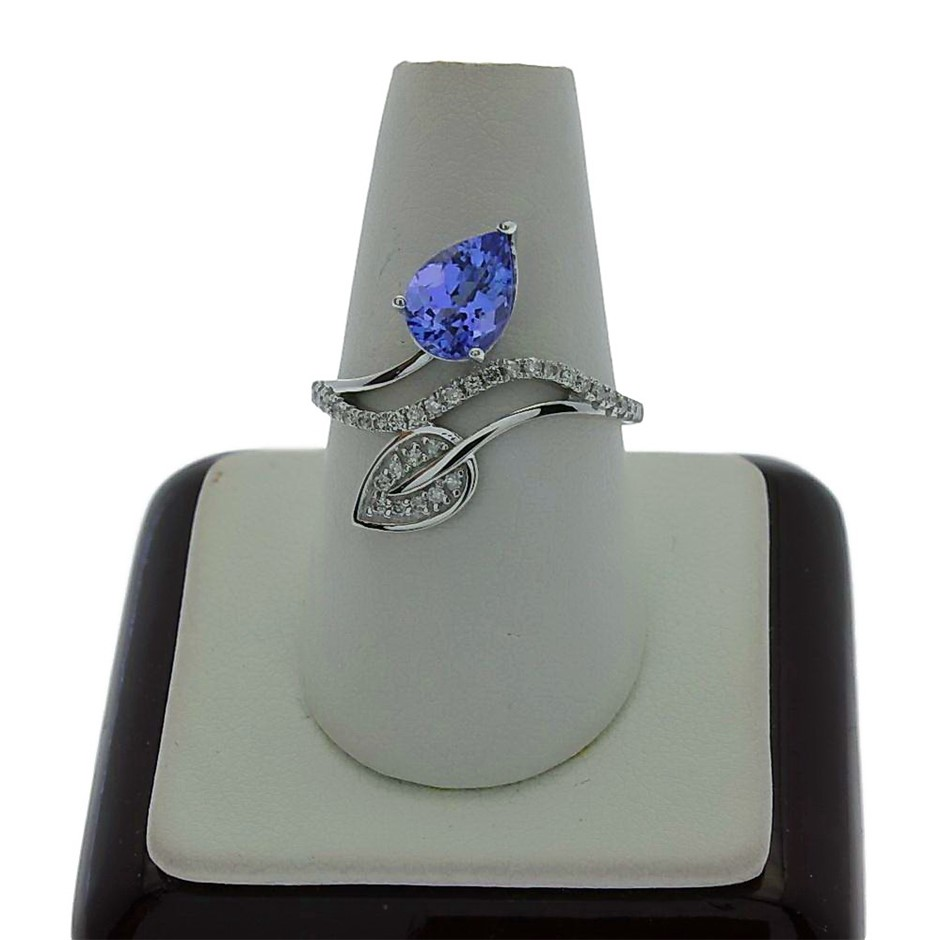 9ct White Gold, 1.13ct Tanzanite and Diamond Ring