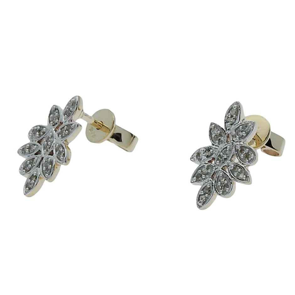 9ct Yellow Gold, 0.18ct Diamond Earring