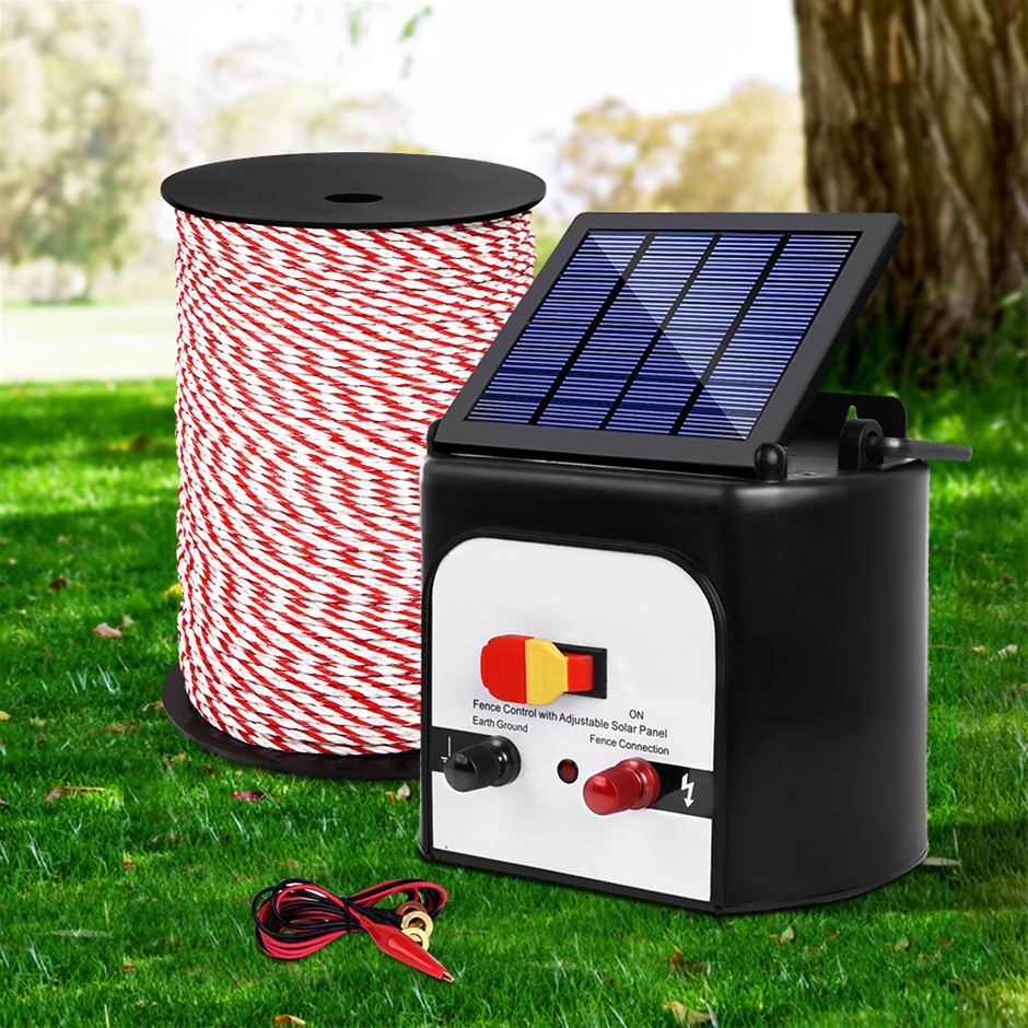 Giantz Electric Fence Energiser 8km Solar Powered Charger + 500m Polytape