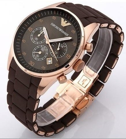 Handsome new Emporio Armani rose gold men's chronograph watch
