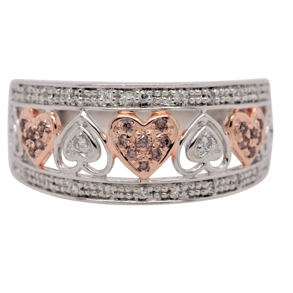 Rose Gold Plated & Sterling Silver White & Topaz CZ Hearts Dress Ring