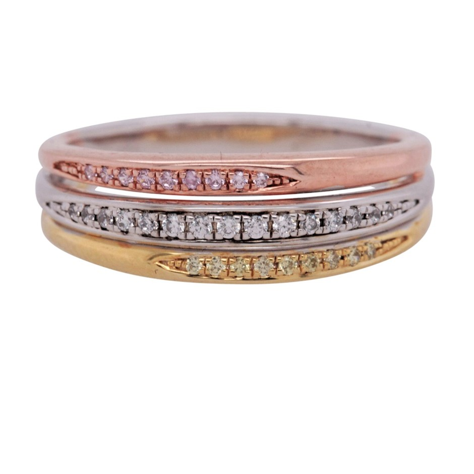 Rose & Yellow Gold Plated Sterling Silver White CZ Triple Row Ring.