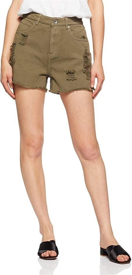 SILENT THEORY Womens Sister Short, Colour Khaki, Size 10, Contrast embroide