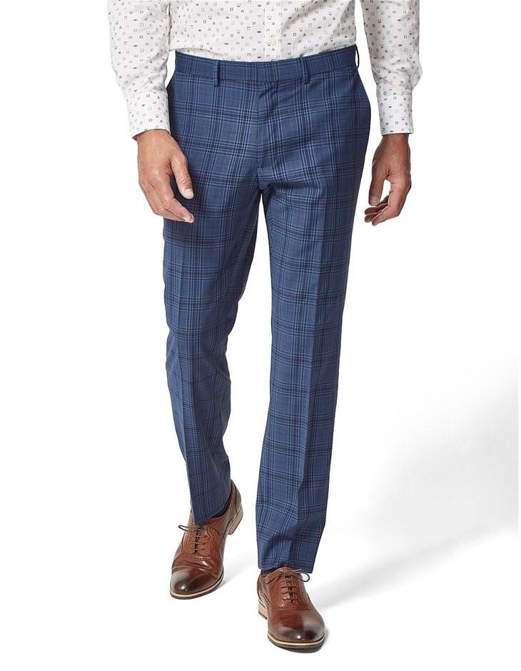 SIMON CARTER Large Check Skin Trouser, Size 30, Colour: Blue. Wool/Polyeste