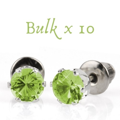 BULK PACK - 10 x 5mm Birthstone Earrings (August) - Great Gift Idea