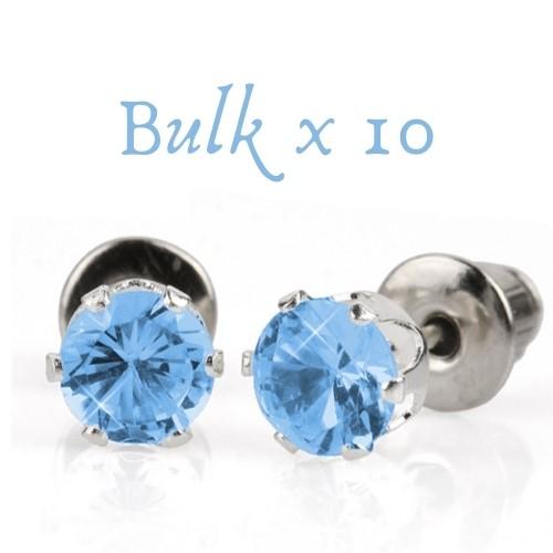 BULK PACK - 10 x 5mm Birthstone Earrings (September) - Great Gift Idea