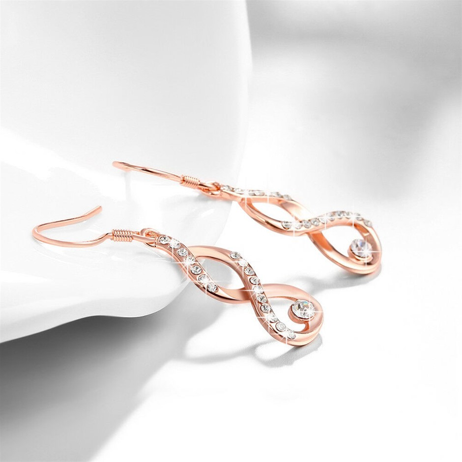 Stunning 18K Rose Gold Filled Hoop Earrings With Zircon Crystal