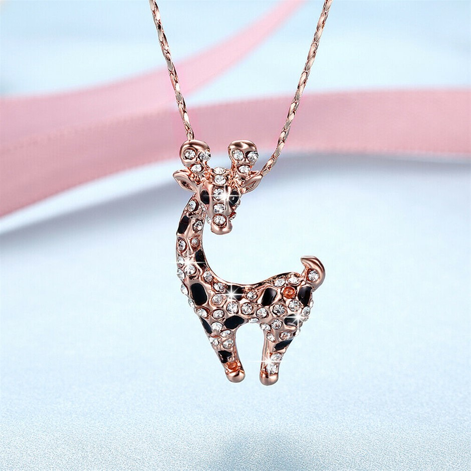 Lovely 18K Rose Gold Filled Clear Crystal Giraffe Pendant Chain Necklace