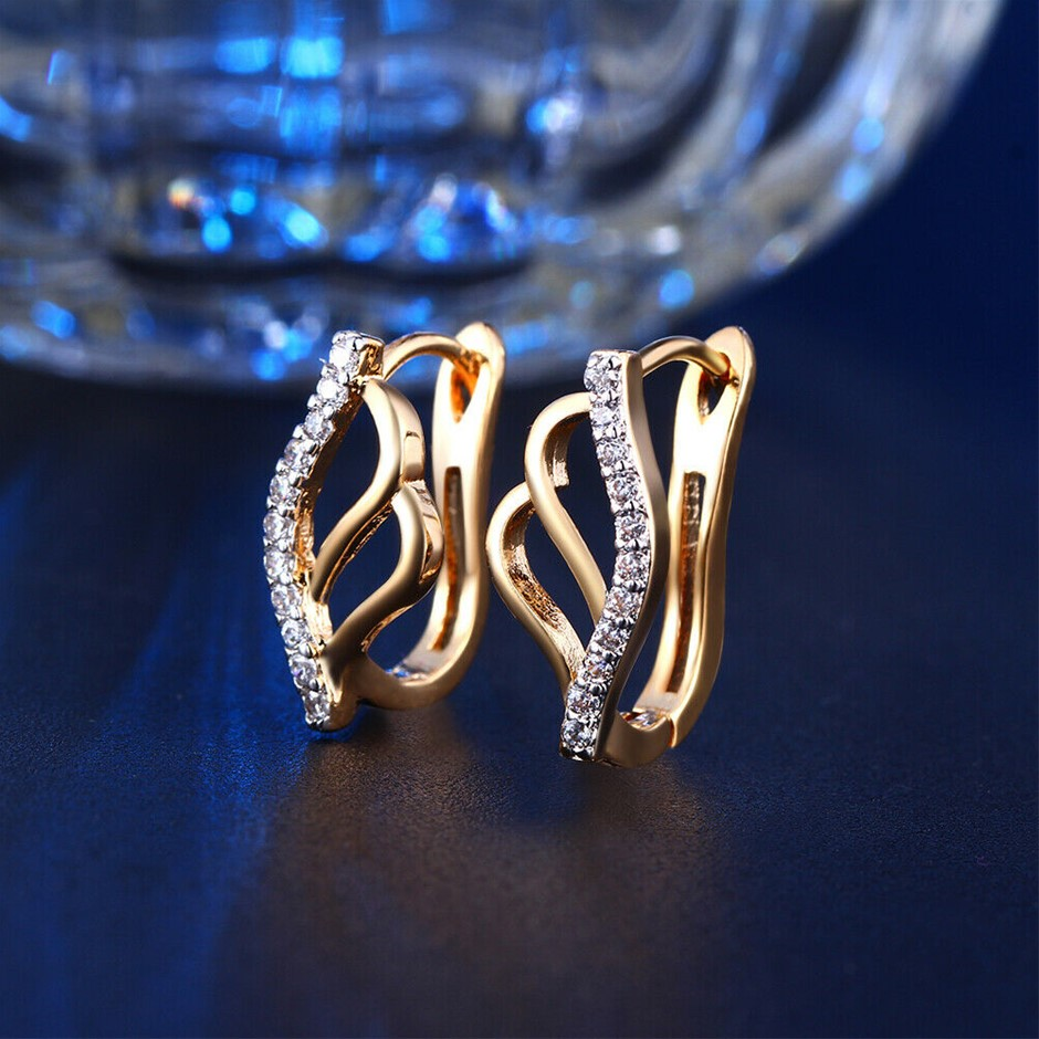 Antique Style 18K Gold Filled Hoop Earrings With SWAROVSKI Crystal