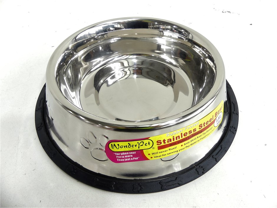 WonderPet - 4 x 700ml Stainless steel Feeder Bowl with Rubber Foot