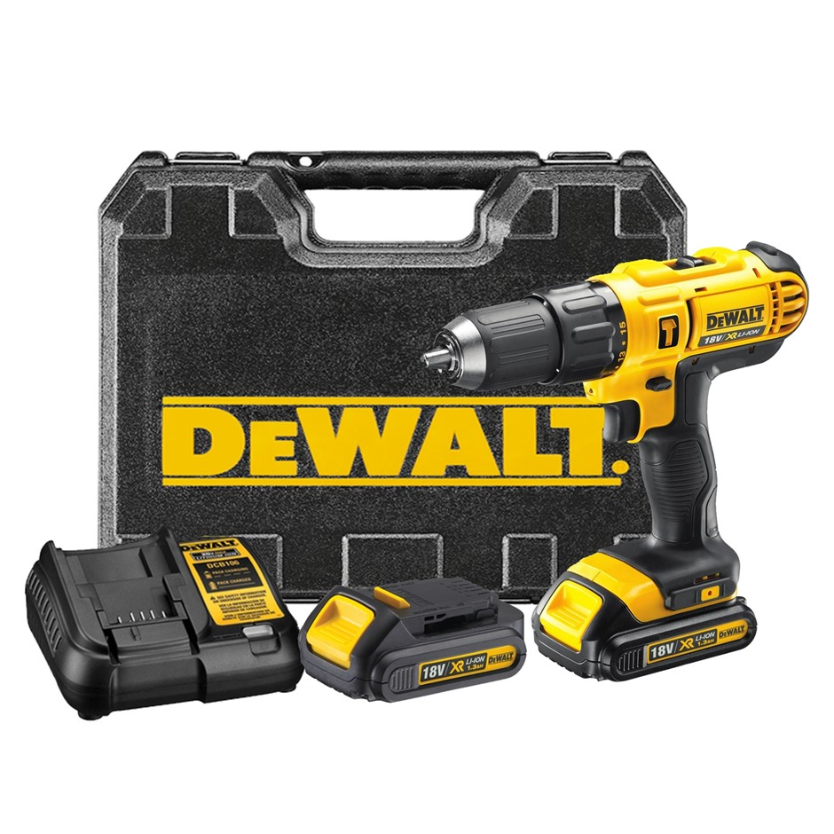 DEWALT 18V Cordless Drill c/w 2 x Batteries & Charger in Blow Mould Case. N