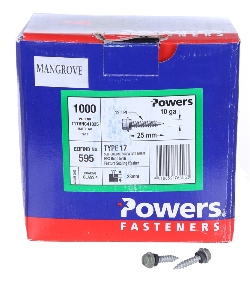 Pack of 1000 x POWERS Self Drilling Timber Screws 25mm x 10G, Hex Head with