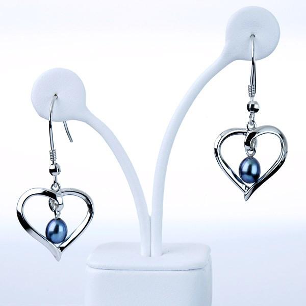 Black freshwater pearl heart shaped earrings in sterling silver