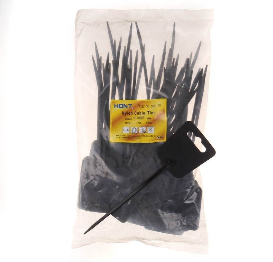 4 x Packs of 50 Mounted Head Cable Ties, 165mm x 4.8mm, Black. Buyers Note