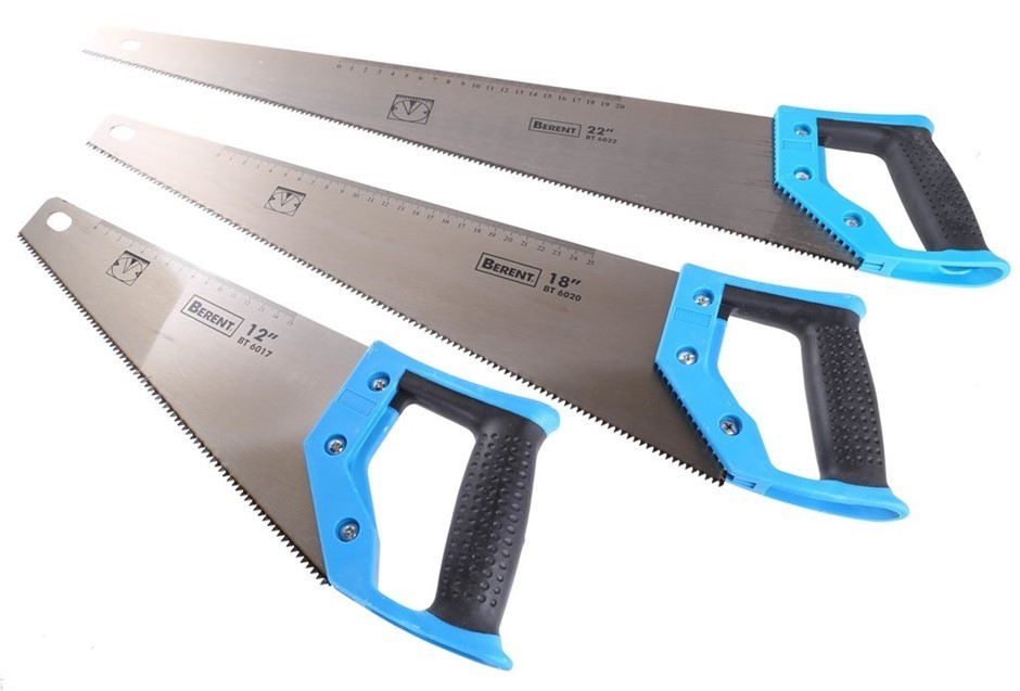 3 x BERENT Hand Saws With Soft Grip Handles, 12ins, 18ins & 22ins, Diamond