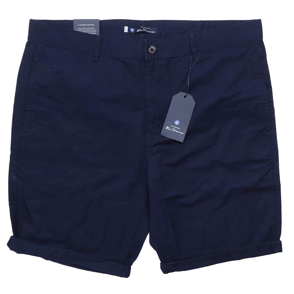 BEN SHERMAN Men`s Relaxed Fit Shorts, Size 32, Cotton, Navy. Buyers Note -