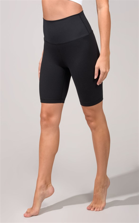 90 DEGREES BY REFLEX Women`s Active Shorts, Size M, Polyester/Elastane, Bla