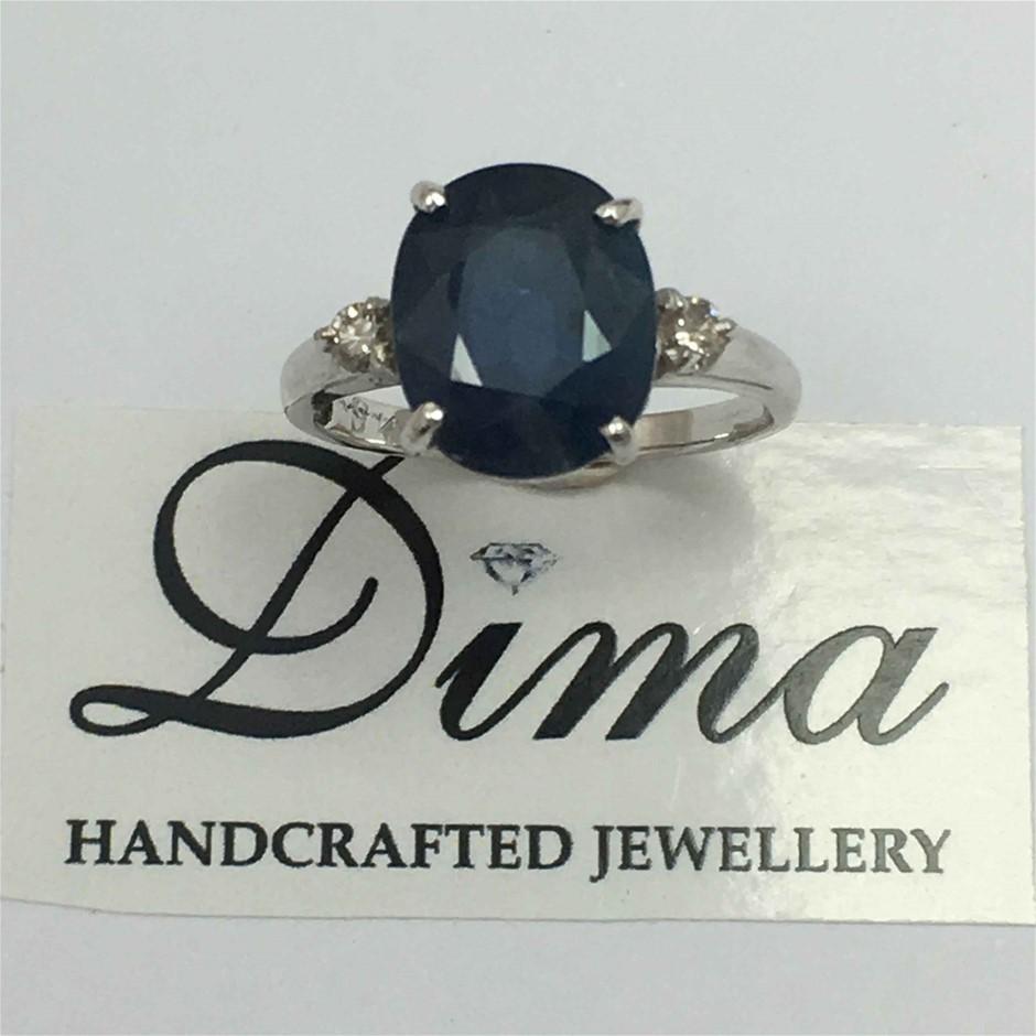 9ct White Gold, 4.30ct Sapphire and Diamond Ring