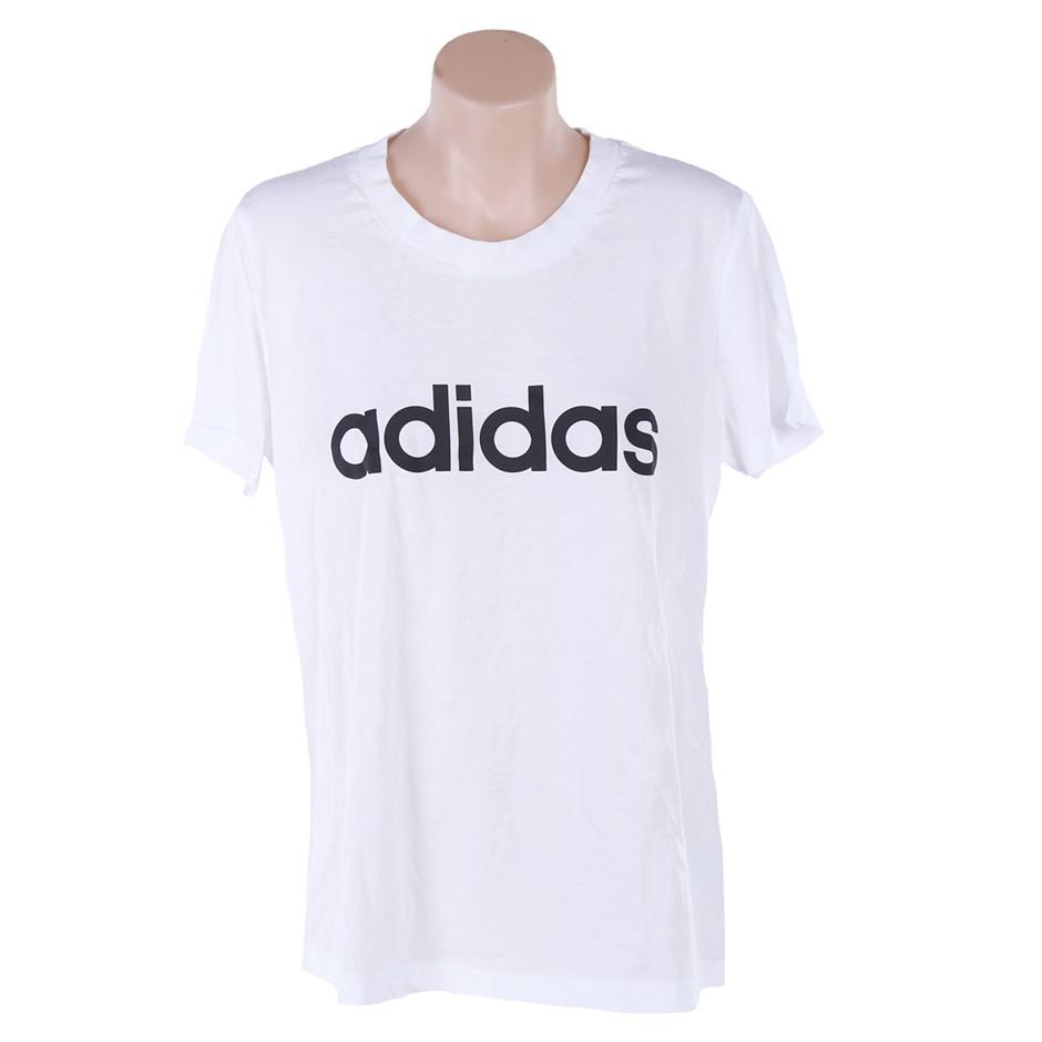 ADIDAS Women`s Essential Linear Slim T-Shirt, Size L, 100% Cotton, Black/Wh