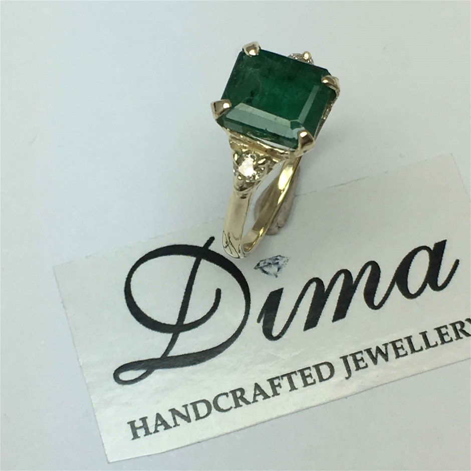 9ct Yellow Gold, 2.54ct Emerald and Diamond Ring