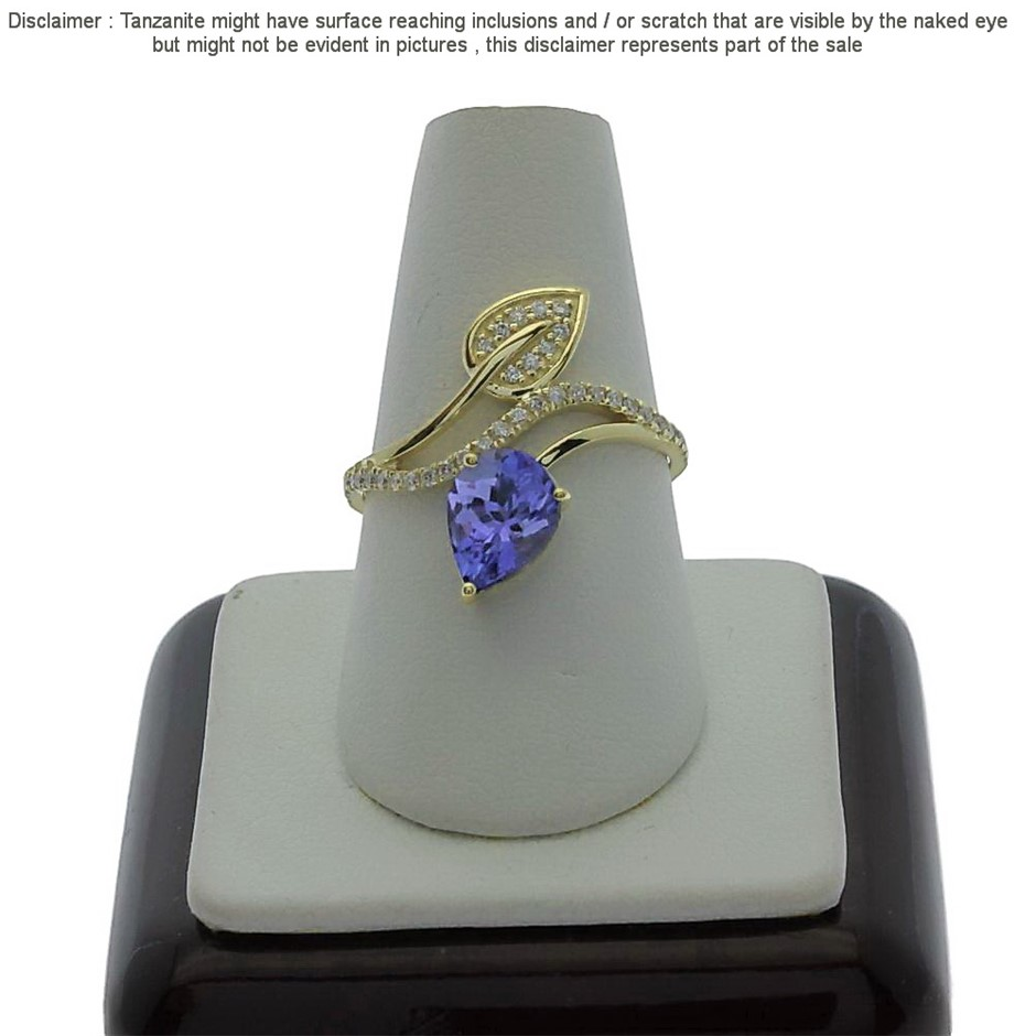 9ct Yellow Gold, 1.13ct Tanzanite and Diamond Ring