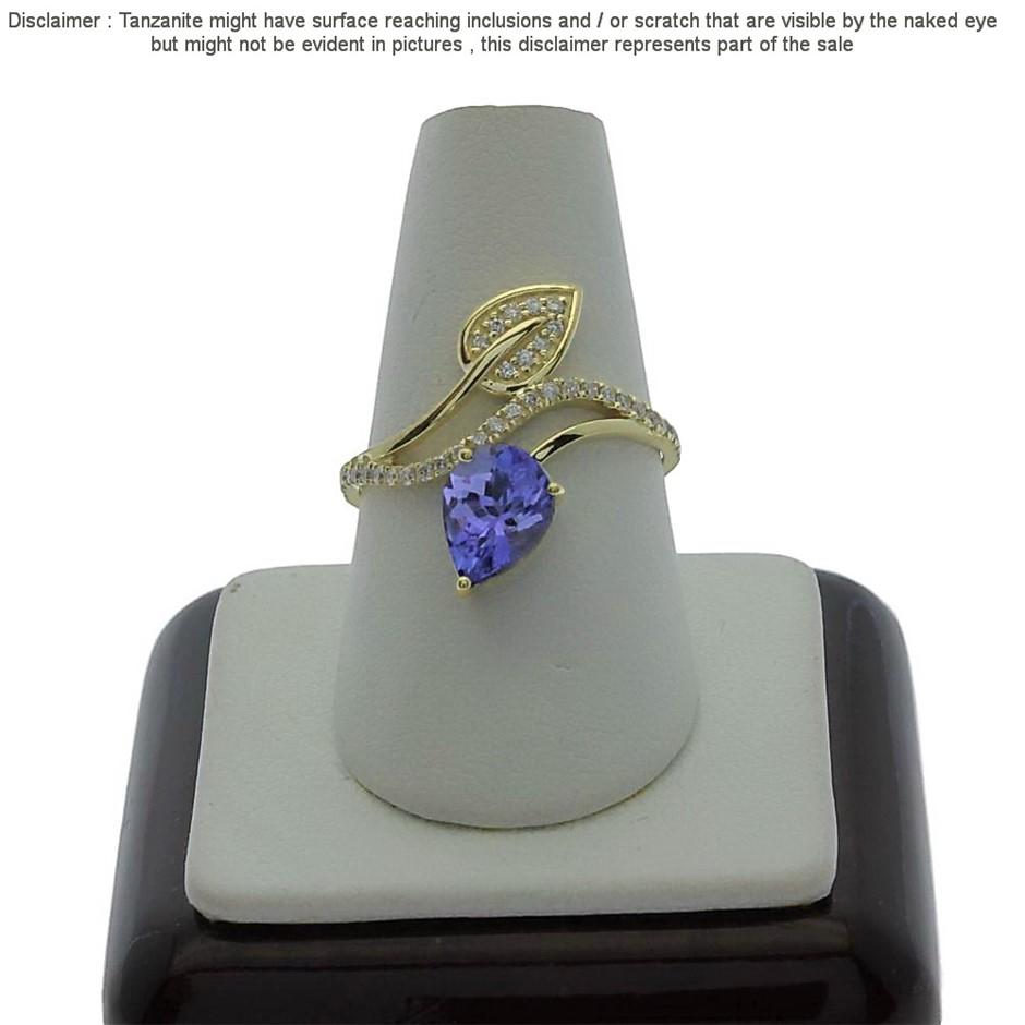 9ct Yellow Gold, 1.13ct Tanzanite and Diamond Ring