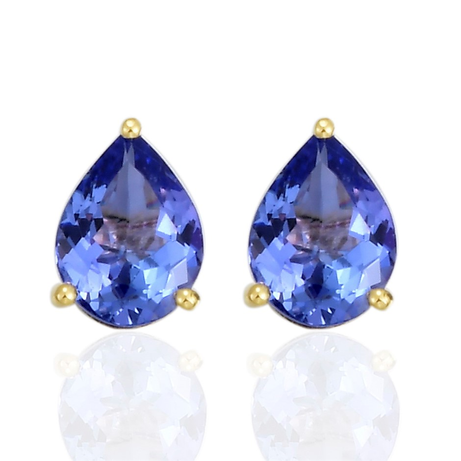 9ct Yellow Gold, 1.97ct Tanzanite Earring