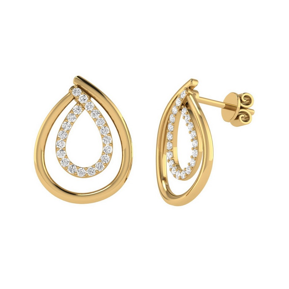 9ct Yellow Gold, 0.08ct Diamond Earring