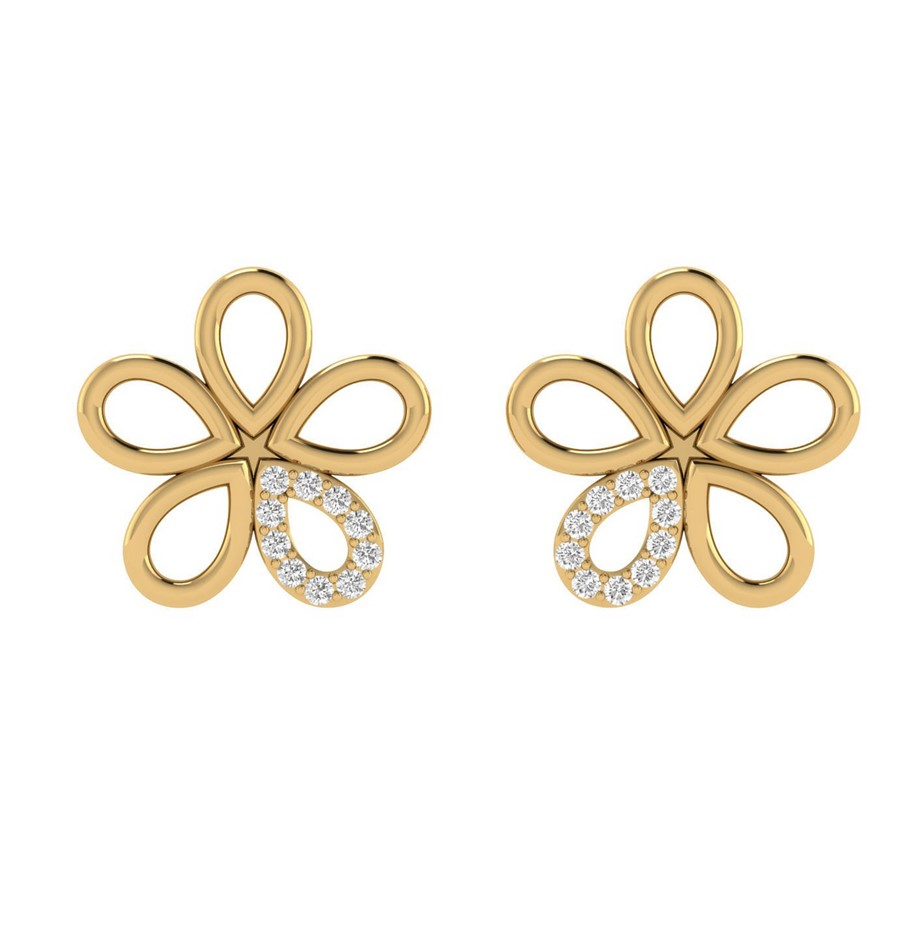 9ct Yellow Gold, 0.10ct Diamond Earring