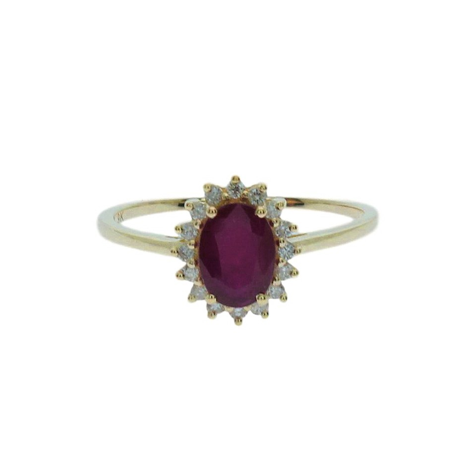9ct Yellow Gold, 1.85ct Ruby and Diamond Ring