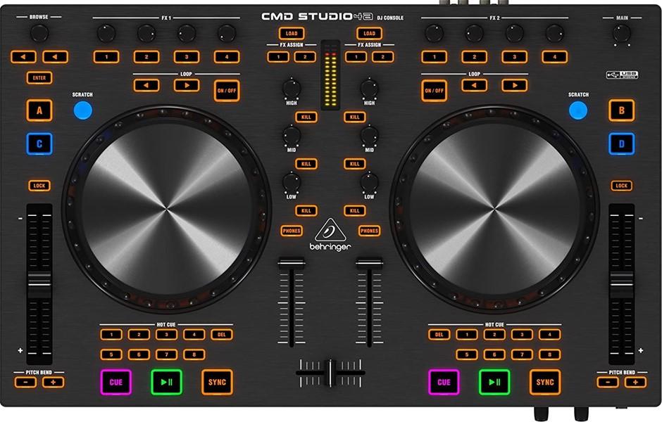 BEHRINGER CMD STUDIO 4 DECK DJ MIDI CONTROLLER WITH 4- CHANNEL AUDIO INTERF