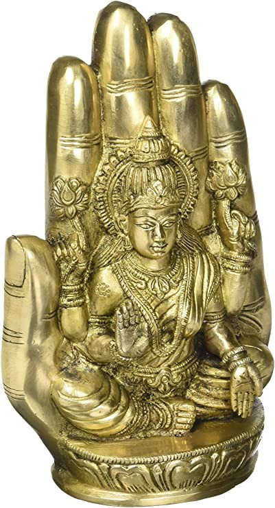 EXOTIC INDIA Goddess Lakshmi Seated on Lotus Against The Aureole of a Hand,