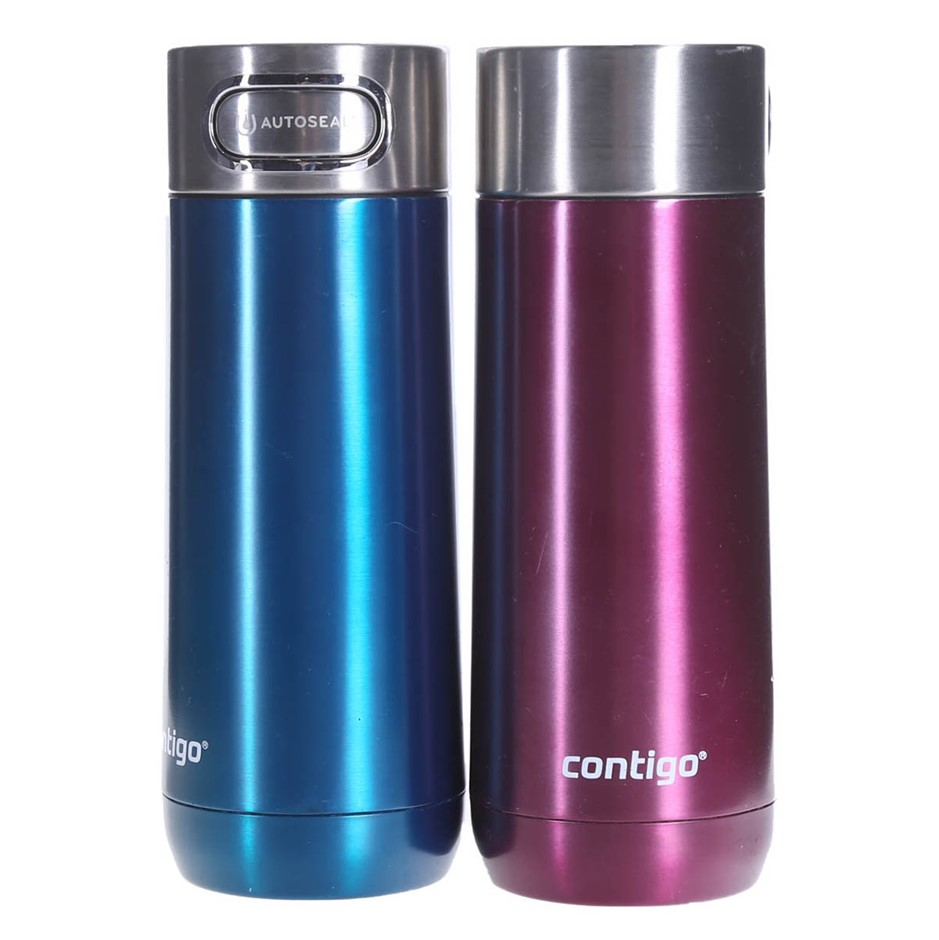 2 x CONTIGO Autoseal Travel Mugs, 414mL, Blue & Pink. (SN:CC68772) (278404-