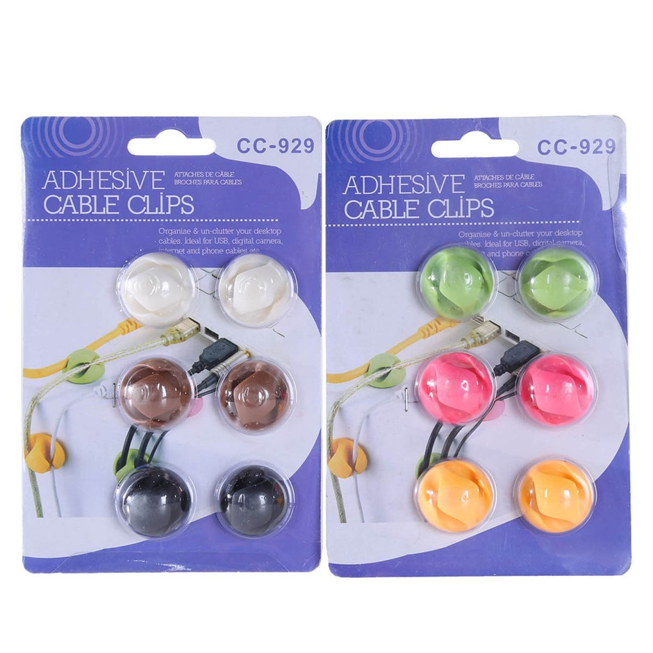 9 x Adhesive 6pk Double Cable Clips. (SN:HONT-K0099) (278404-324)