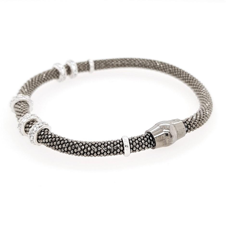 Oxidised Sterling Silver & Crystal Bracelet.