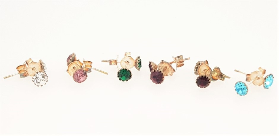 Lot of 6 Sterling Silver Birthstone Crystal Studs.