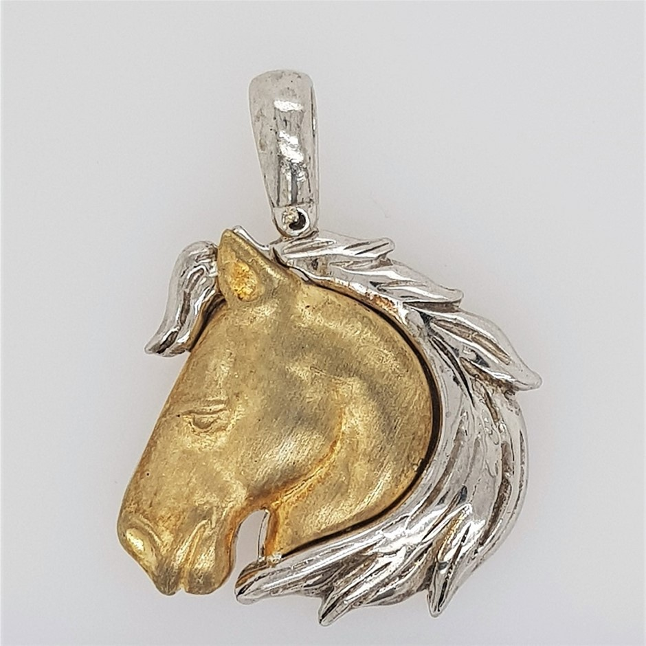 Yellow Gold Plated & Sterling Silver Horse Head Pendant with Chain.