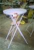 Lilac Coloured Garden Bar Table. Fold Up. Steel. 600mm diameter. 1000mm hig