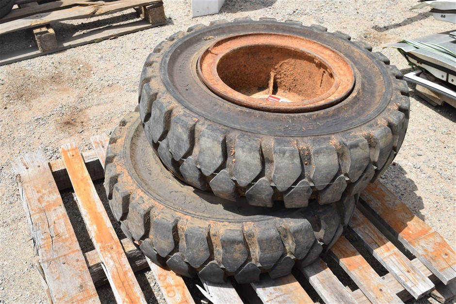 Lot of 2 Ad-Trak Industrial Solid Forklift Tyres on Steel Rims