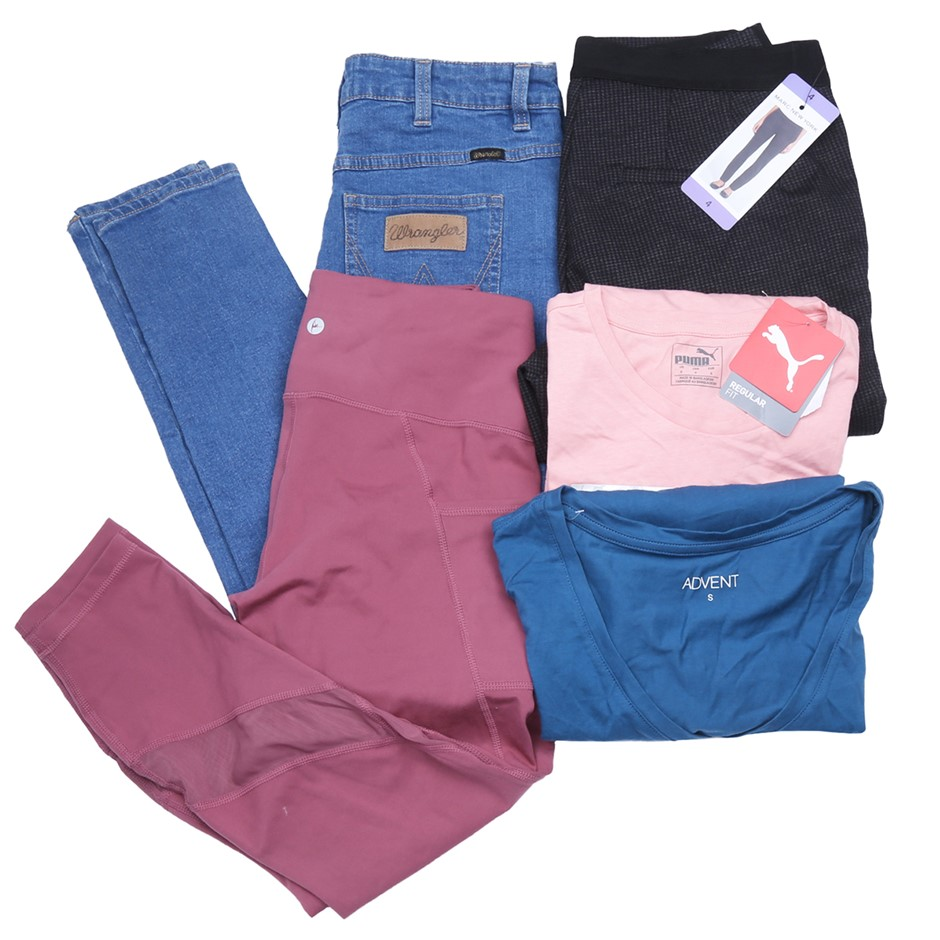 Bag of Mixed Women`s Clothing Comprised: Puma, Wrangler & More, Size S. Buy