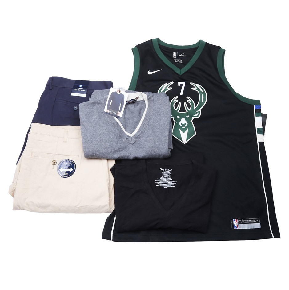 Bag of Mixed Men`s Clothing, Comprised NBA, Nautica & More, Size XL. Buyers