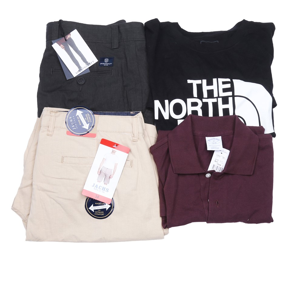 Bag of Mixed Men`s Clothing, Comprised: Jachs, The North Face & More, Size